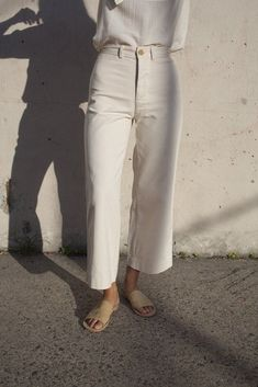 Caron Callahan Stewart Pant in Ivory Denim | Oroboro Store | Brooklyn, New York