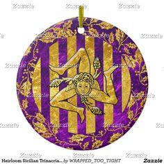 Heirloom Sicilian Trinacria Gold Purple Ceramic Ornament