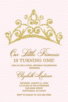 Free printable princess tea party invitations templates 2 paige princess tiara birthday party invitation princess birthday party invitation blush pink gold glitter printable or printed stopboris Gallery