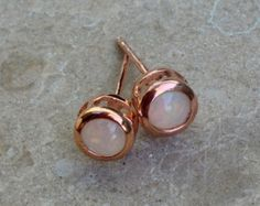 Ethiopian Opal Rose Gold Earring Studs - Genuine Opal Rose Gold over Silver Earrings