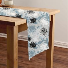 Table runner gray blue dining room decor abstract by NewCreatioNZ