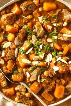 This fragrant Lamb Tagine recipe is a simple version of the classic dish from Morocco. Made with chicken peas and almonds, this dish is an easy dinner. Healthy Beef Recipes, Lamb Recipes, Beef Tagine Recipes, Veggie Recipes, Slow Cooker Recipes, Cooking Recipes, Veggie Food, Rice Recipes, Cooking Tips