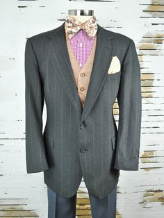 42 Long Refined Charcoal Gray Men's by RockItAgainVintage on Etsy