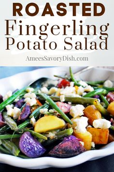 Roasted fingerling potato salad with green beans and feta cheeseis a delicious and easy to make side salad recipe topped with a delicious lemon balsamic vinaigrette. #potatosalad #potatorecipe #roastedpotatosalad #fingerlingpotatoes via @Ameecooks