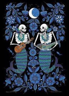 'Dos Sirenas', black background~Artwork © Javier Ramos Lucano, (Tonala, Mexico) #sirena