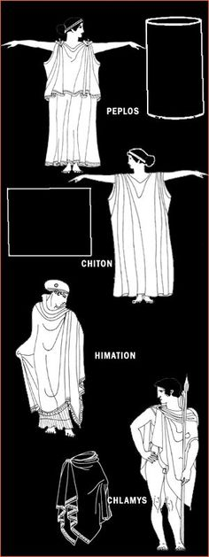 Different versions of Greek dress: Peplos, Chiton, Himation, and Chlamys. Ancient Greek Costumes, Ancient Greek Clothing, Ancient Greek Dress, Ancient Greek Theatre, Ancient Greece Fashion, Greece Costume, Roman Dress, Greek Fashion, Greek Inspired Fashion