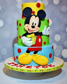 Inspired Picture of Mickey Birthday Cake Mickey Birthday Cake Mickey Mouse Birthday Cake Mickey Mouse Birthday Cake For A Little Minni Mouse Cake, Bolo Do Mickey Mouse, Mickey And Minnie Cake, Bolo Minnie, Mickey Cakes, Deco Cupcake, Cupcake Cakes, Cake Cookies, Pastel Mickey