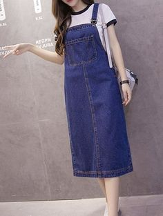 $17.42 Preppy Style Pocket Design Furcal Suspender Dress For Women