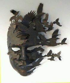 """""""Raven came but there was no message only the dead to feast on . the mask of life stripped in death Neil G Vol du Corbeau: Art of Mask"""" Sculptures Céramiques, Sculpture Art, Sculpture Ideas, Raven Mask, Cool Masks, Leather Mask, Masks Art, Venetian Masks, Mask Design"""