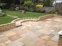 Indian Sandstone by Artisan Hardscape Solutions Back Garden Design, Patio Design, Backyard Designs, Backyard Ideas, Backyard Patio, Backyard Landscaping, Southern Cottage, Contemporary Garden, Contemporary Stairs