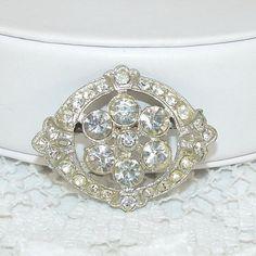 Rhinestone Brooch Vintage Jewelry Wedding Bridal Formal by OhFaro, $24.00
