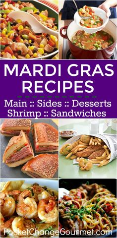 Mardi Gras and the ever so popular Fat Tuesday Celebration, are another great way to create memories with your family! Creole Recipes, Cajun Recipes, Louisiana Recipes, Southern Recipes, Madi Gras Food, Sandwiches, Mardi Gras Appetizers, Mardi Gras Desserts, Main Dishes