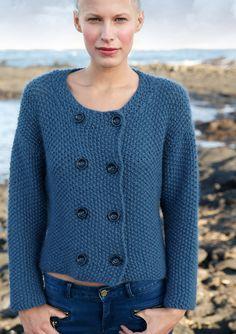 Kurze blaue Jacke, Garnpaket zu Modell 26 aus Rebecca Nr. 61, gestrickt aus ggh-Garn ANDANIA