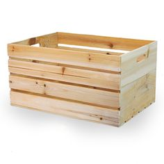 Natural Wooden Storage Crate with In-Handles - Large 17in