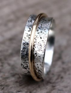 Mountain Metalcraft - Textured Sterling Silver Spinner Ring with Gold Spinner, $58.00 (http://mountain-metalcraft.mybigcommerce.com/textured-sterling-silver-spinner-ring-with-gold-spinner/)
