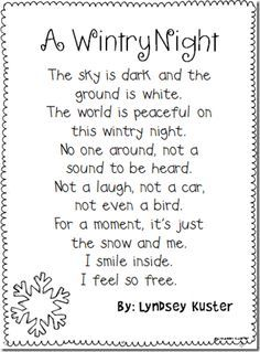 winter poems for kids to learn - Google Search