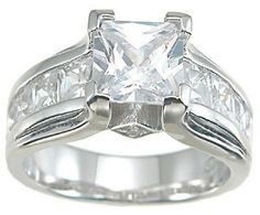 Stunning Princess Cut CZ Engagement Ring Sterling Silver