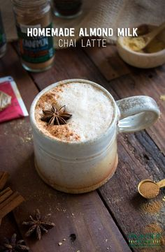 Here's the secret to a thick, creamy almond milk chai latte with black tea and organic spices. Enjoy it with a breakfast cookie or muffin, or curled up with a book on a cold day. Cheers!