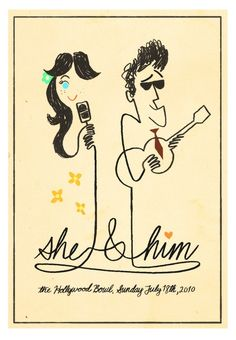 way cool She & Him illustrated faux gig poster
