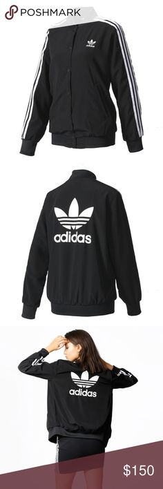 ADIDAS 3S BOMBER JACKET track zip BJ8184 M NEW WITH TAGS  ADIDAS 3S BOMBER JACKET  WOMEN SIZE  USA MEDIUM / 40 EUR / UK 14  The 3-Stripes are the cornerstone of adidas Originals heritage. Their sporty vibe and design versatility make them an ongoing source of fresh fashion inspiration. A snap-button front adds a touch of street style. Made of shiny, silky crepe fabric for a luxe look and feel, it has a large Trefoil logo on the back that shows everyone your adidas spirit. adidas Jackets…