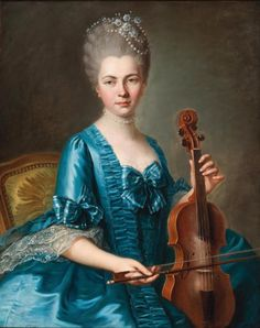 Guillaume Voiriot (Paris 1713–1799), A young lady in a light-blue silk dress playing a violin. Although Voiriot initially preferred to work in pastel, he also began painting in oil from the late 1740s onwards. The present portrait seamlessly fits in with the rest of Voiriot's oeuvre. Characteristic features of his art are the natural elegance and skilfully captured spontaneity of his sitters' expressions.