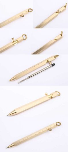 Brass Defender Tactical Rule Metallic Brass Sport Fountain Pen is made from solid brass with a raw finish.