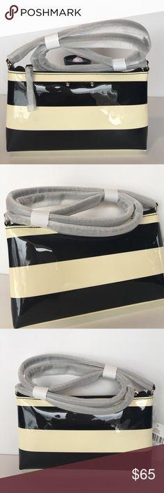 "Kate Spade Penn Valley Crossbody 💖💖HP4/1/17💖💖 Kate Spade Penn Valley .Crossbody ,NWT .Black with Cream Stripes Patent PVC, Raspberry Interior Lining. Zip Closure.6""X10""X 1.5 ,Drop Length 18"".Small but holds a lot . kate spade Bags Crossbody Bags"