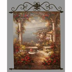 Balcony to the Sea Mediterranean View Handpainted Canvas Tapestry