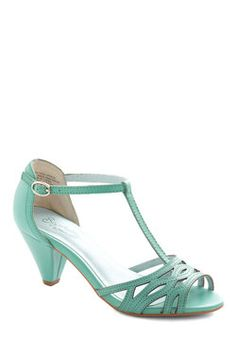 Everybody Dance Heel in Aqua, #ModCloth Finally a reasonable height heel with a t-strap that's sexy.