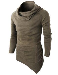 H2H Mens Casual Turtleneck Slim Fit Pullover Sweater Oblique Line Bottom Edge BEIGE US M/Asia L (KMTTL046) at Amazon Men's Clothing store: