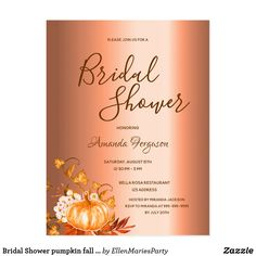 Shop Bridal Shower pumpkin fall copper shiny invitation Postcard created by EllenMariesParty.