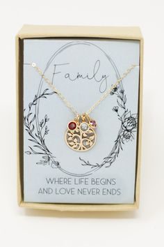 A sweet message for Mom or Grandma with a tree pendant necklace with birthstone charms. Get a different birthstone for each child or grandchild!
