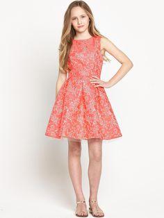 Freespirit Girls Neon Orange and Metallic Gold Premium Prom Dress 5-16 Years | very.co.uk