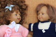 2 Dolls pink and blue vintage clothes / vintage toy doll / Holy10