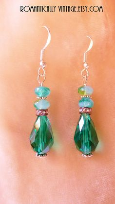 Emerald Crystal Earrings Beaded Gift for by RomanticallyVintage, $19.00