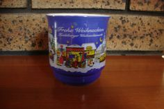 1998 Collectable German Frohe Weihnachten Blue Christmas Market Mug