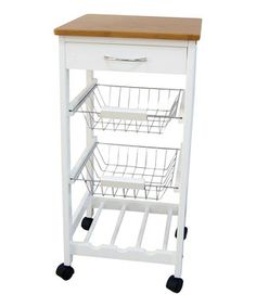 Take a look at this home basics Wood Three-Tier Rolling Kitchen Trolley by Kitchen Organization Collection on today! Modern Kitchen Island, Modern Farmhouse Kitchens, New Kitchen, Cool Kitchens, Kitchen Decor, Wooden Kitchen, Kitchen Pantry, Kitchen Ideas, Diy Flooring