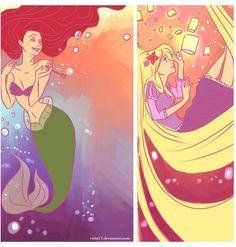 Ariel and Rapunzel  by *viria13