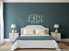 Vine Monogram Wall Decal  Monogram Silver Wall by JustTheFrosting
