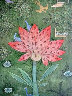 Mark Drake-Briscoe (U.K., born 1964), Flower miniature. The artist studied techniques for Indian miniature painting under the guidance of Ram Krishna Sharma in Udaipur, northern India.