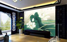 Tapisserie asiatique, image issue d'une peinture à l'encre de Chine, aspect ancien. Titre: Les lotus blancs