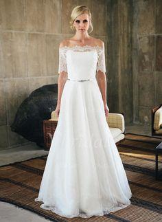 Robes de mariée -Forme Princesse Sans bretelle alayage/Pinceau train Dentelle Robe de mariée (0025059740)