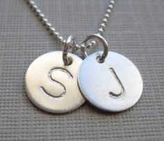 TWO INITIALS Small Charm  Hand stamped by jcjewelrydesign on Etsy, $40.00