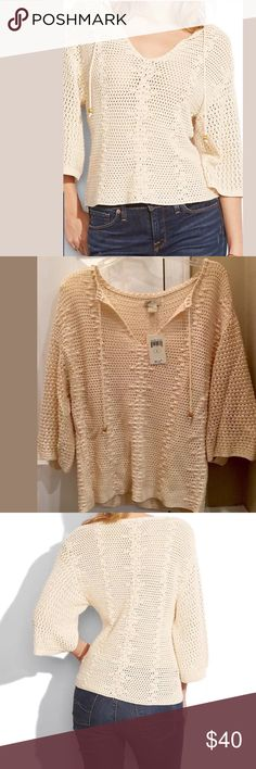 Luck brand peasant sweater. NWT large Romantic and effortless, our cotton-blend Crochet Peasant sweater is bohemian perfection (plus we're all about the wider sleeves to stay cool in the summer heat).    60%COTTON 40%VISCOSE Hand Wash Cold  Do Not Bleach  Lay Flat To Dry  Cool Iron  Or Dry Clean  Size L.  Smoke/pet free home. Lucky Brand Tops