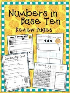 Freebie!  Numbers in Base Ten Review Pages, includes skip counting by 5, expanded form, comparing numbers, addition, and more!