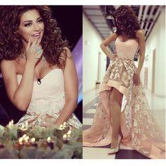 Myriam Fares High Low Prom Dresses 2015 Vestido de Festa Sweetheart Appliques Pink Saudi Arabic Party Evening Gowns Dubai Dress
