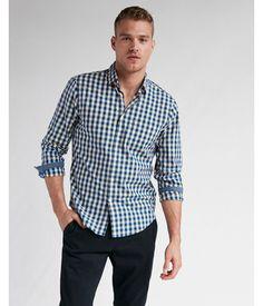 015b3b400c Slim Soft Wash Plaid Shirt Blue Men s