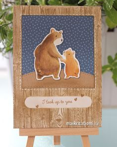 """www.maikreations.de I used the """"Bearg Hugs"""" stamp set from """"Mama Elephant"""" to create this Father's Day card. You can find more details and a list of supplies used on my blog! Thank you for stopping by and happy crafting ;o)"""