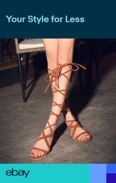 143e6d2cdd3 ladies womens Lace-Up gladiator sandals flat knee boots LongSandal Zip