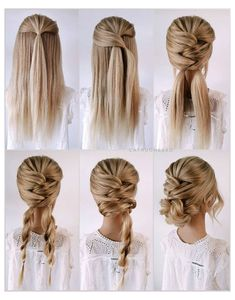Prom Hairstyles For Long Hair, Work Hairstyles, Bridesmaids Hairstyles, Bride Hairstyles, Easy Homecoming Hairstyles, Easy Wedding Hairstyles, Black Hairstyles, Hairdos, Hairstyles For Working Out